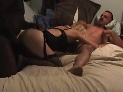 Cuckold eats her pussy as the horny wife gets fucked by a big black dick
